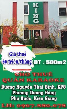 CHO THUÊ QUÁN KARAOKE Đường Nguyễn Thái Bình, KP8, phường Dương Đông