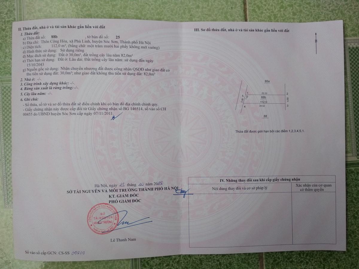 Cần bán đất 112m2 (4.8x24) tại Phù Linh, Sóc Sơn, Hà Nội