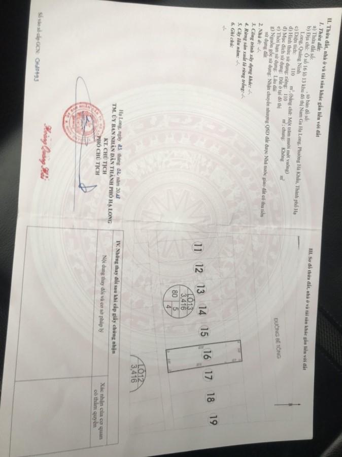 Bán 2 lô đất liền kề ô số 16+17 lô 13 KĐT Nam Ga Hạ Long, TP.Hạ Long, 0979782899