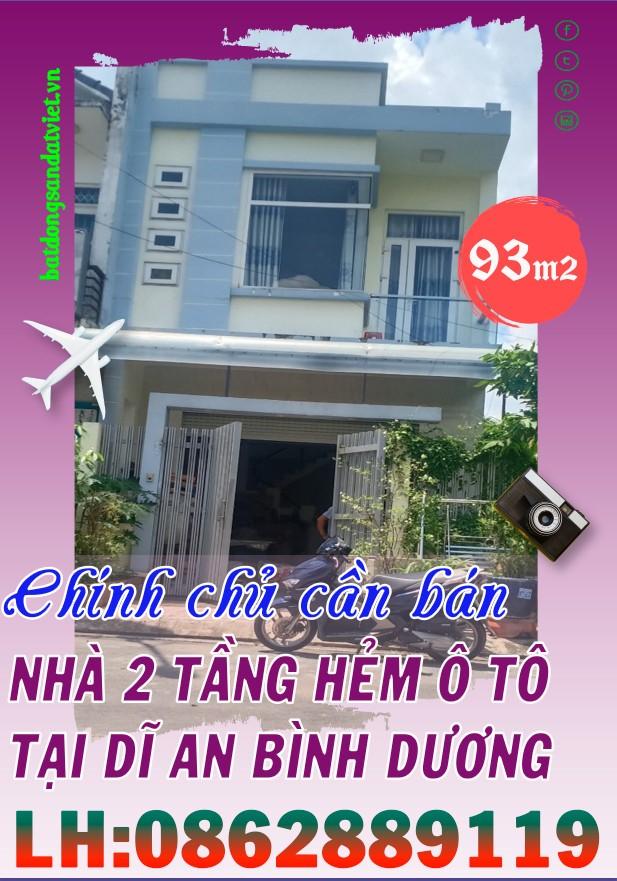 Bán nhà 93m2 hẻm ô tô tại phường Đông Hoà, Dĩ An, Bình Dương giá cực hấp dẫn