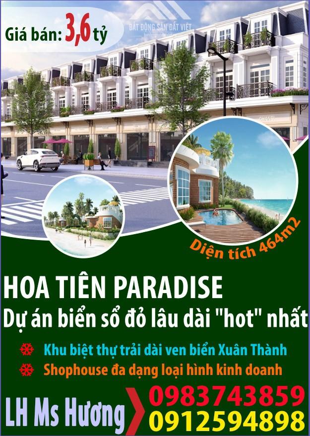 Bán shophouse dự án Hoa Tiên Paradise Xuân Thành đường 25m sát biển.