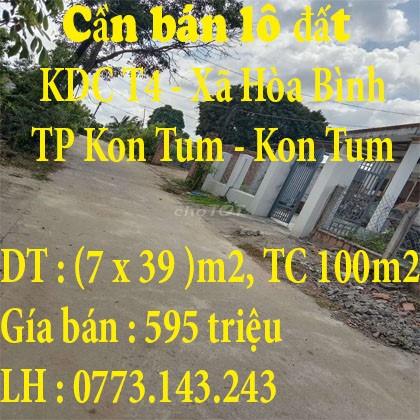 Cần bán lô đất dt 272 m2 nằm ở khu dân cư T4 - Xã Hòa Bình, Thành phố Kon Tum, Kon Tum