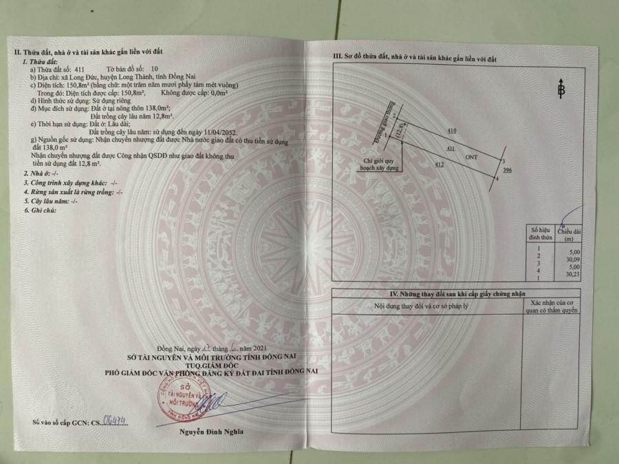 Bán Đất 150m2 Suất Ngoại Giao KCN Long Đức, Long Thành - Giá 12,5 tr/m2