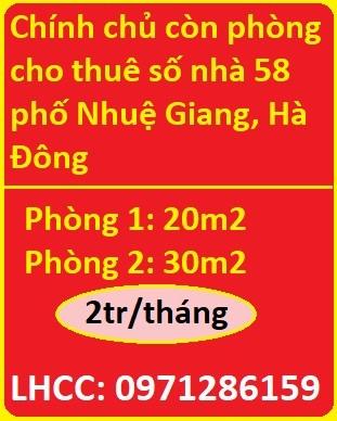 Chính chủ còn phòng cho thuê số nhà 58 phố Nhuệ Giang, Hà Đông, 2tr, 0971286159