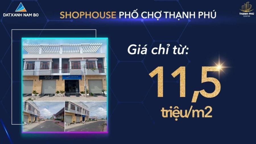 Shophouse phố chợ Thạnh Phú chỉ từ 11.5tr/m2