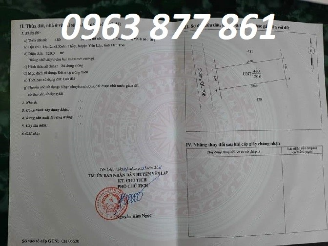 Bán đất vị trí đẹp tại khu 2 Xuân Thủy, Yên Lập, Phú Thọ, 0963877861