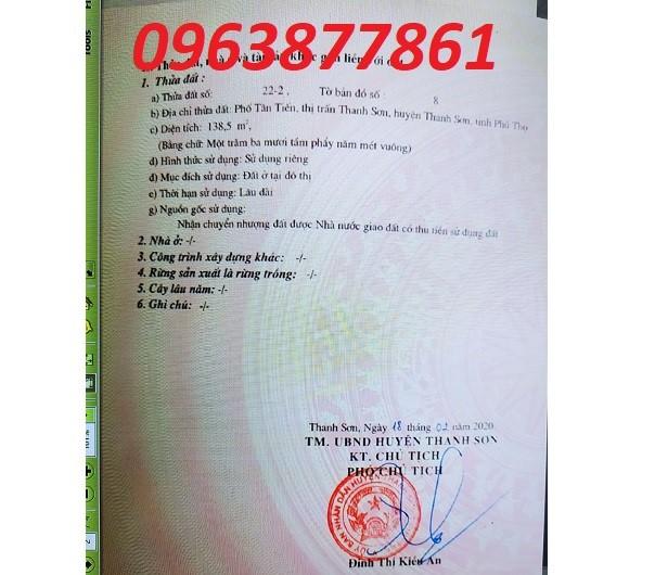 Bán đất vị trí đẹp tại Tân Chiến, TT Thanh Sơn, Thanh Sơn, Phú Thọ, 0963877861