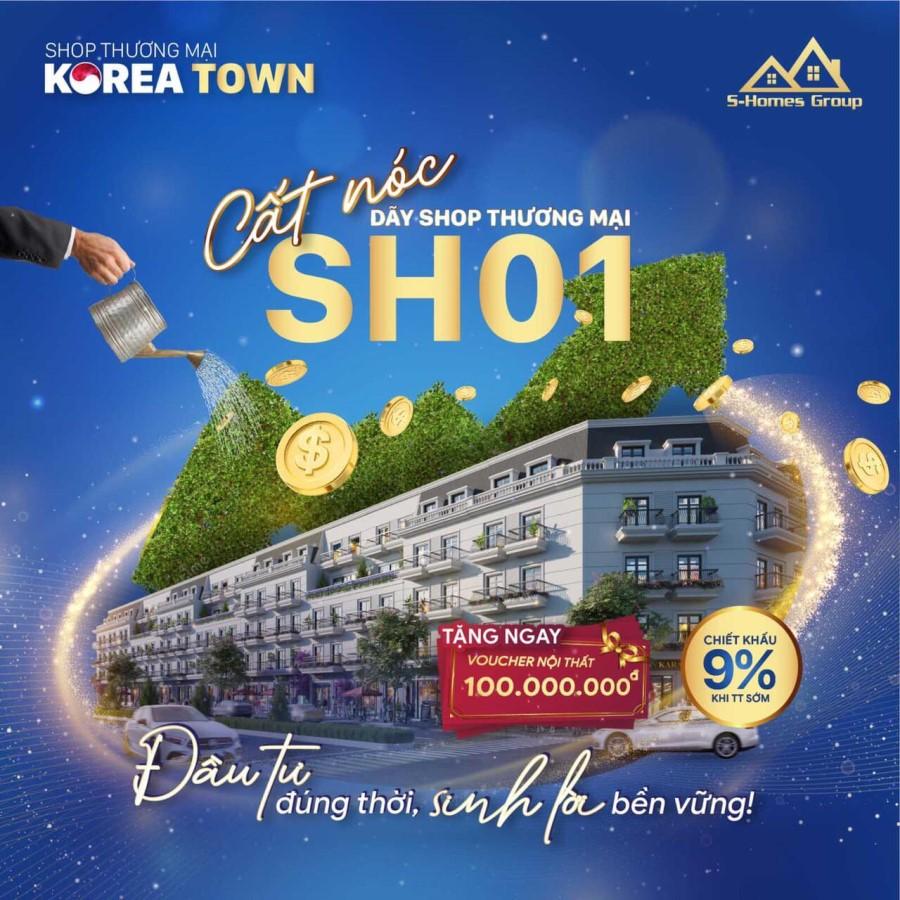 Tưng bừng cất nóc dãy Shophouse SH01 Korea Town