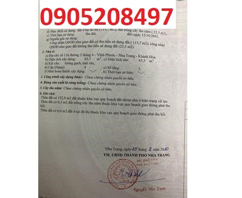 Bán 267m2 đất tại 15/1 Mai An Tiêm, Nha Trang, 5,5 tỷ, 0905208497