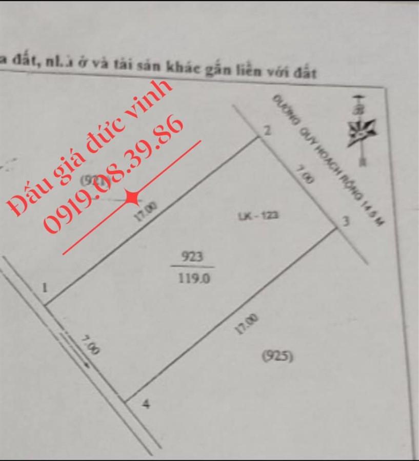 Đất đấu giá Hưng Lộc, 119m2, đường 14,5m, giá 14tr/m2