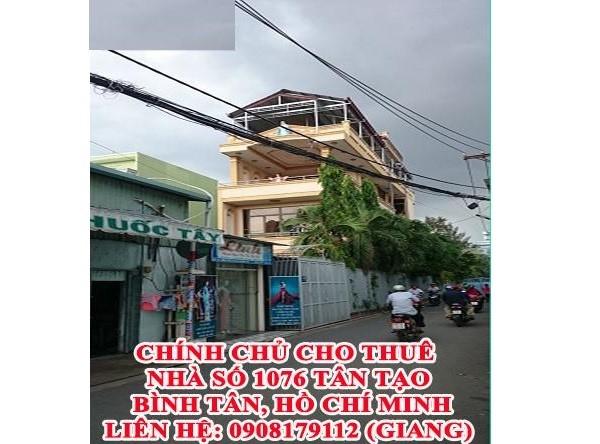 Cho thuê nhà số 1076 TL 10, Tân Tạo, Bình Tân, TPHCM, 40tr, 0908179112